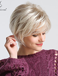 cheap -Synthetic Wig Straight Natural Straight Pixie Cut With Bangs Wig Blonde Short Light golden Synthetic Hair 24 inch Women's Odor Free Fashionable Design Synthetic Blonde BLONDE UNICORN