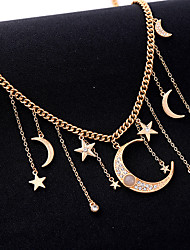 cheap -Women's Cubic Zirconia Pendant Necklace Classic Moon Star European Ethnic Fashion Boho Chrome Gold 40+7 cm Necklace Jewelry 1pc For Carnival Holiday Street Festival