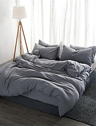 cheap -Duvet Cover Sets Solid Colored / Contemporary Polyster Yarn Dyed 4 PieceBedding Sets
