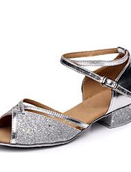 cheap -Women's Latin Shoes Ballroom Shoes Line Dance Heel Low Heel Fuchsia Blue Gold Toggle Clasp