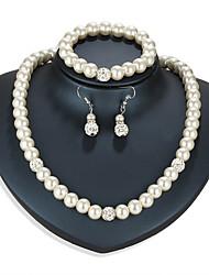 cheap -Women's Drop Earrings Bead Bracelet Necklace Beads Classic Vintage European Elegant Imitation Pearl Rhinestone Earrings Jewelry Silver For Party Engagement Ceremony Festival 4pcs