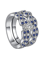 cheap -Women's Ring AAA Cubic Zirconia 2pcs Blue Alloy Gift Daily Jewelry