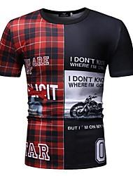 cheap -Men's EU / US Size Cotton T-shirt - Plaid / Letter Patchwork / Print Round Neck Blue