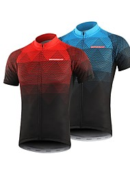 cheap -BERGRISAR Men's Short Sleeve Cycling Jersey Polyester Black / Red Orange Green Gradient Bike Jersey Top Mountain Bike MTB Road Bike Cycling Breathable Quick Dry Reflective Strips Sports Clothing