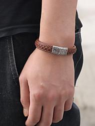 cheap -Men's Women's Vintage Bracelet Leather Bracelet Bracelet Classic Totem Series Artistic Simple Vintage Casual / Sporty Fashion Stainless Steel Bracelet Jewelry Brown / Blue / AB White Color For Gift