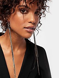 cheap -Women's Multicolor Drop Earrings Chandelier Weave Vertical / Gold bar European Initial Earrings Jewelry Black / Purple / Gold / White For Daily 1 Pair