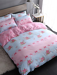 cheap -Duvet Cover Sets Floral Polyster Printed 4 PieceBedding Sets / 4pcs (1 Duvet Cover, 1 Flat Sheet, 2 Shams)