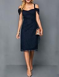 abordables -Femme Sophistiqué Elégant Mi-long Gaine Robe - Paillettes, Couleur Pleine A Bretelles Bleu S M L Coton Manches Courtes
