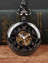 cheap -Men's Pocket Watch Mechanical manual-winding Black New Design Casual Watch Analog Vintage Steampunk Skeleton - Black