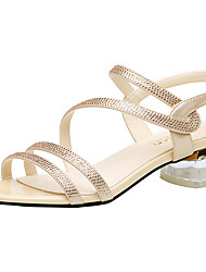cheap -Women's Sandals Crystal Heel Sparkling Glitter Synthetics Sweet / British / Lucite Heel Fall / Spring & Summer Black / Gold