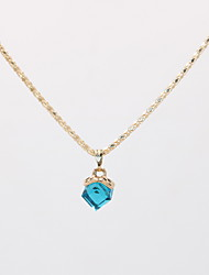 cheap -Women's Crystal Pendant Necklace Necklace Geometrical faceter Lucky Dainty Simple Unique Design Modern Gold Plated Chrome Peacock Green Purple Yellow Red Blue 42 cm Necklace Jewelry 1pc For Street