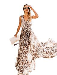 cheap -Women's Elegant Swing Dress - Floral Brown L XL XXL