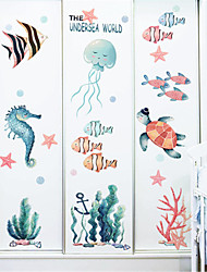 cheap -Cartoon underwater world stickers children's room bedroom wall decoration kindergarten marine wall stickers small fish ins stickers