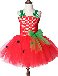 cheap -Strawberry Red Mesh Tutu Dress Children's Birthday Gift Baby Girl Clothes Wear