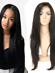 cheap -Human Hair Wig Medium Length Straight Side Part Party Women Best Quality Lace Front Brazilian Hair Women's Black#1B 10 inch 12 inch 14 inch