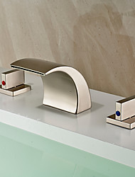 cheap -Bathroom Sink Faucet - Waterfall / Widespread Nickel Brushed Widespread Two Handles Three HolesBath Taps