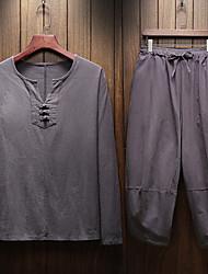 Недорогие -Муж. Китайский мужской костюм Длинный рукав Хлопок Дышащий Быстровысыхающий Фитнес Спортивная одежда Большие размеры Льняные рубашки поло Шорты-бермуды Темно-серый Белый Черный Темно-серый Темно-синий