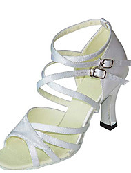 cheap -Women's Dance Shoes PU Latin Shoes Paillette Heel Flared Heel Customizable White / Black / Black-white / Performance / Leather / Practice
