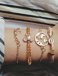 cheap -4pcs Women's Bead Bracelet Vintage Bracelet Earrings / Bracelet Layered Maps Alphabet Shape Heart Simple Classic Vintage Cute Cord Bracelet Jewelry Gold For Daily School Street Holiday Festival