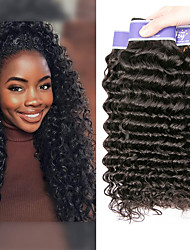 cheap -3 Bundles Brazilian Hair Deep Wave Virgin Human Hair 100% Remy Hair Weave Bundles Natural Color Hair Weaves / Hair Bulk Bundle Hair Human Hair Extensions 8-28 inch Natural Human Hair Weaves Easy to