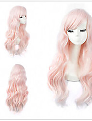 cheap -Synthetic Wig Wavy Avril Bob Middle Part Wig Pink Medium Length Pink Synthetic Hair 20 inch Women's Elastic Party Women Pink