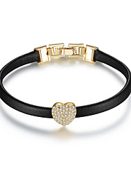 cheap -Women's AAA Cubic Zirconia Leather Bracelet Classic Heart Stylish Artistic Simple Trendy Genuine Leather Bracelet Jewelry Gold For Wedding Graduation Engagement Gift Work