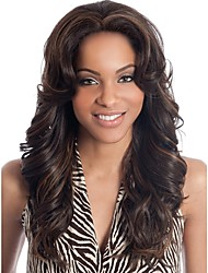 cheap -Synthetic Wig Bangs Curly Deep Wave Middle Part Wig Long Dark Brown / Dark Auburn Synthetic Hair 28 inch Women's Fashionable Design Women Synthetic Dark Brown / Ombre Hair