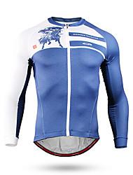 cheap -Mountainpeak Men's Long Sleeve Cycling Jersey Winter Fleece Spandex Sky Blue Animal Bike Jersey Top Mountain Bike MTB Road Bike Cycling Windproof Breathable Quick Dry Sports Clothing Apparel