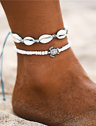 cheap -Ankle Bracelet feet jewelry Bohemian Fashion Women's Body Jewelry For Daily Holiday Braided Shell Alloy Turtle Shell White 2pcs