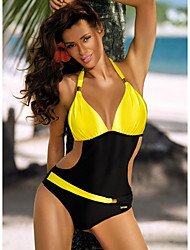 cheap -Women's One-piece Swimwear Swimsuit - Color Block S M L Blue Yellow Blushing Pink Green