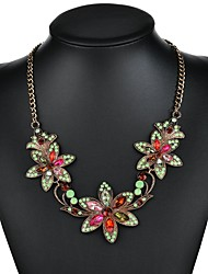 cheap -Women's Cubic Zirconia Pendant Necklace Classic Flower Vintage European Ethnic Boho Chrome White Black Rainbow 53+4.5 cm Necklace Jewelry 1pc For Wedding Carnival Holiday Festival