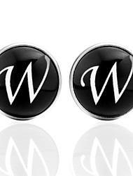 cheap -Cufflinks Alphabet Shape Formal Casual Brooch Jewelry Black Silver Brown For Daily Festival