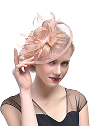 cheap -Hat / Fascinator Hat Adults' Vintage / Halloween All Fuchsia / White / Beige Tulle / Feather Masquerade Wedding Party Cosplay Accessories Christmas / Halloween / Carnival Costumes