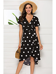cheap -Women's A Line Dress - Sleeveless Polka Dot Summer Casual Daily Going out 2020 Black S M L