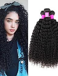 Недорогие -3 Связки Бразильские волосы Kinky Curly человеческие волосы Remy Человека ткет Волосы Пучок волос Накладки из натуральных волос 8-28 inch Естественный цвет Ткет человеческих волос