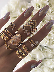 cheap -Women Knuckle Ring Cubic Zirconia Retro Gold Imitation Diamond Alloy Flower Shape Arrow Statement Vintage 13pcs 7 / Women's / Ring Set