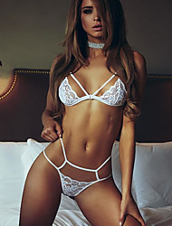cheap -Women's Lace Strappy Bras & Panties Sets Solid Colored Super Sexy Plus Size Casual / Daily White Black / Deep V