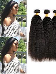 Недорогие -3 Связки Малазийские волосы Яки Вытянутые Необработанные натуральные волосы 100% Remy Hair Weave Bundles 300 g Головные уборы Человека ткет Волосы Пучок волос 8-28 дюймовый Нейтральный / Без запаха