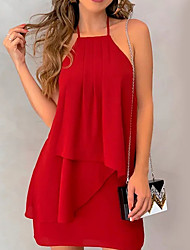 cheap -Women's Red Green Dress Basic Spring A Line Solid Colored Halter Neck Ruffle Chiffon Fashion S M