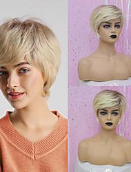 cheap -Human Hair Capless Wigs Human Hair Straight / Natural Straight Pixie Cut / Layered Haircut / Asymmetrical / Short Hairstyles 2019 Adjustable / Heat Resistant / Ombre Hair Golden / Multi-color Short