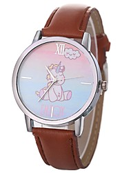 cheap -Women's Quartz Watches Minimalist Word Watch Black White Brown PU Leather Chinese Quartz Black Sky Blue Ivory Cool Large Dial 30 m 1 pc Analog One Year Battery Life
