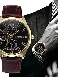 cheap -Men's Dress Watch Aviation Watch Quartz Fashion Fake Three Eyes Six Needles Analog Black / White Golden+Black White / One Year / Leather