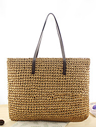 cheap -Women's Bags Tote Straw Bag Bohemian Style Solid Color Holiday Beach Straw Bag Handbags Dark Brown Brown Beige