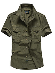 cheap -Men's Hiking Shirt / Button Down Shirts Short Sleeve Outdoor Breathable Quick Dry Sweat-wicking Multi Pocket Shirt Top Summer POLY Army Green Grey Khaki Traveling
