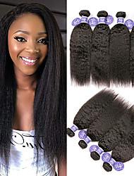 Недорогие -3 Связки Индийские волосы Вытянутые Необработанные натуральные волосы 100% Remy Hair Weave Bundles 300 g Человека ткет Волосы Удлинитель Пучок волос 8-28 дюймовый Нейтральный Ткет человеческих волос