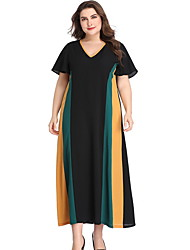 cheap -Women's Maxi Black Dress Basic A Line Color Block V Neck XL XXL