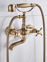 cheap -Brass Bathtub Faucet,Wall Mounted Antique Brass Rainfall Shower Mixer Taps Contain with Handshower and Cold/Hot Water