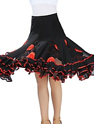 cheap -Ballroom Dance Bottoms Women's Training / Performance Tulle Scattered Bead Floral Motif Style / Gore Natural Skirts