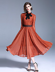 cheap -Audrey Hepburn Country Girl Retro Vintage 1950s Wasp-Waisted Rockabilly Dress Women's Lace Costume Orange Vintage Cosplay Party Daily Homecoming Long Sleeve Midi