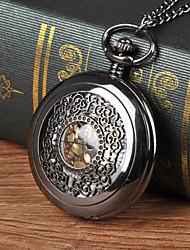 cheap -Men's Pocket Watch Quartz Black Hollow Engraving Casual Watch Cool Analog Casual Steampunk Skeleton Aristo - Black